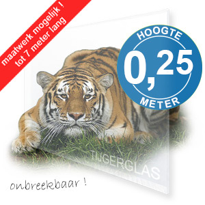 TIJGERGLAS / LEXAN HELDER 25cm
